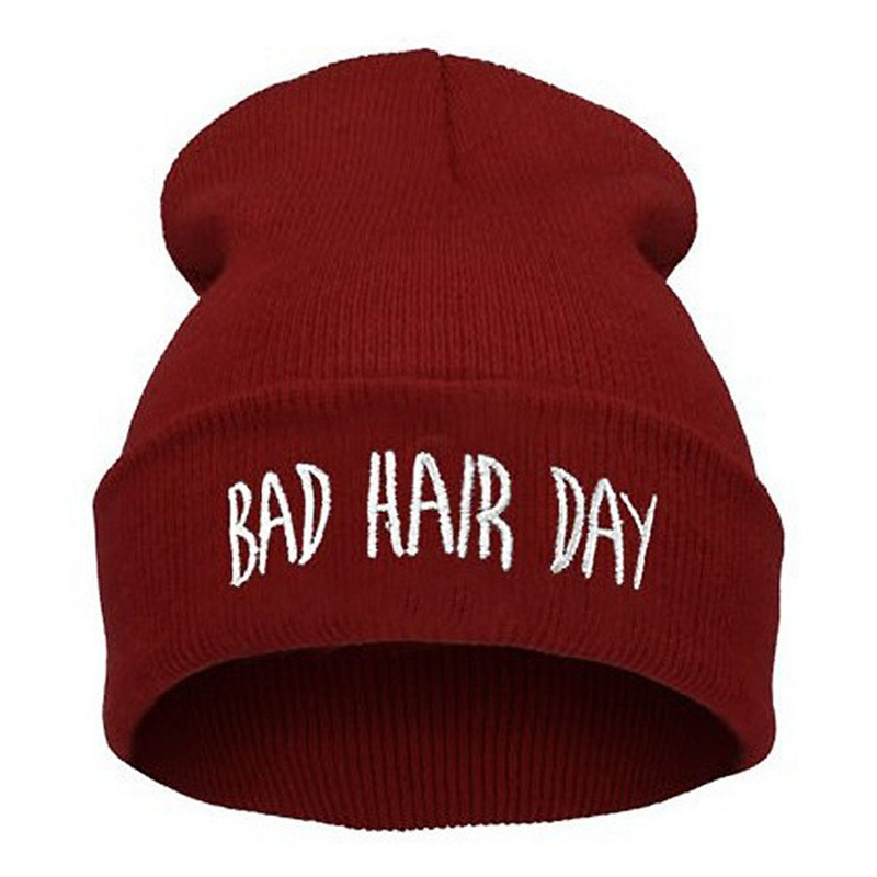 Fashion Skullies Beanies Woman Bad Hair Day Hats Winter Unisex Casual Male Cap Boy Hip Hop Embroidery Autumn Knitted Hat Female