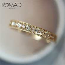 ROMAD Dainty Ring Hollow Silver Gold Round Cubic Zirconia for Female Fashion Popular Rhinestone Wedding Rings Women R4