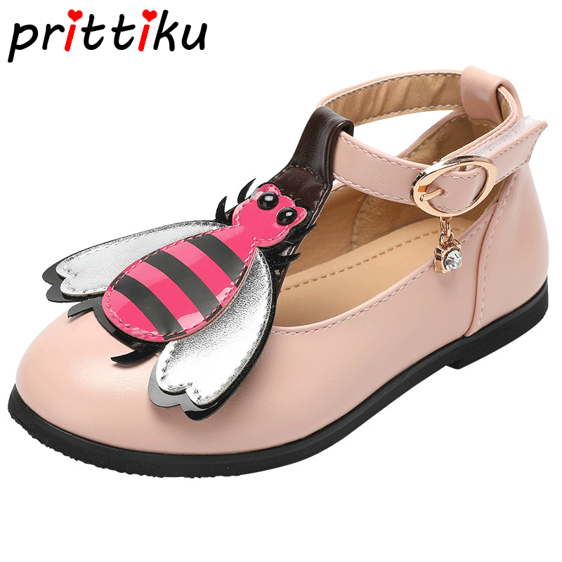 2018 Toddler Girl Cartoon Bee Heart Flats Little Kid PU Leather Mary Jane Big Children Designer School Stylish Princess Shoes