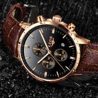 2019 LIGE новый модный подарок мужские часы кожаные аналоговые кварцевые часы 30 м водонепроницаемый хронограф спортивные с датой часы мужские ...