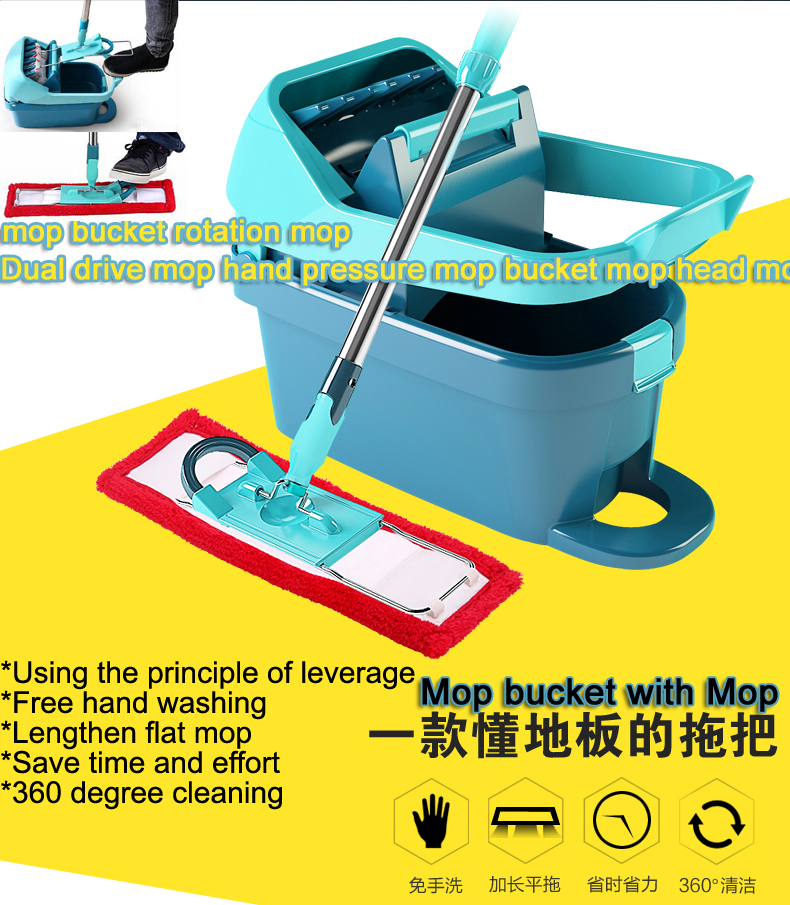 Mop bucket rotating mop double for hand head