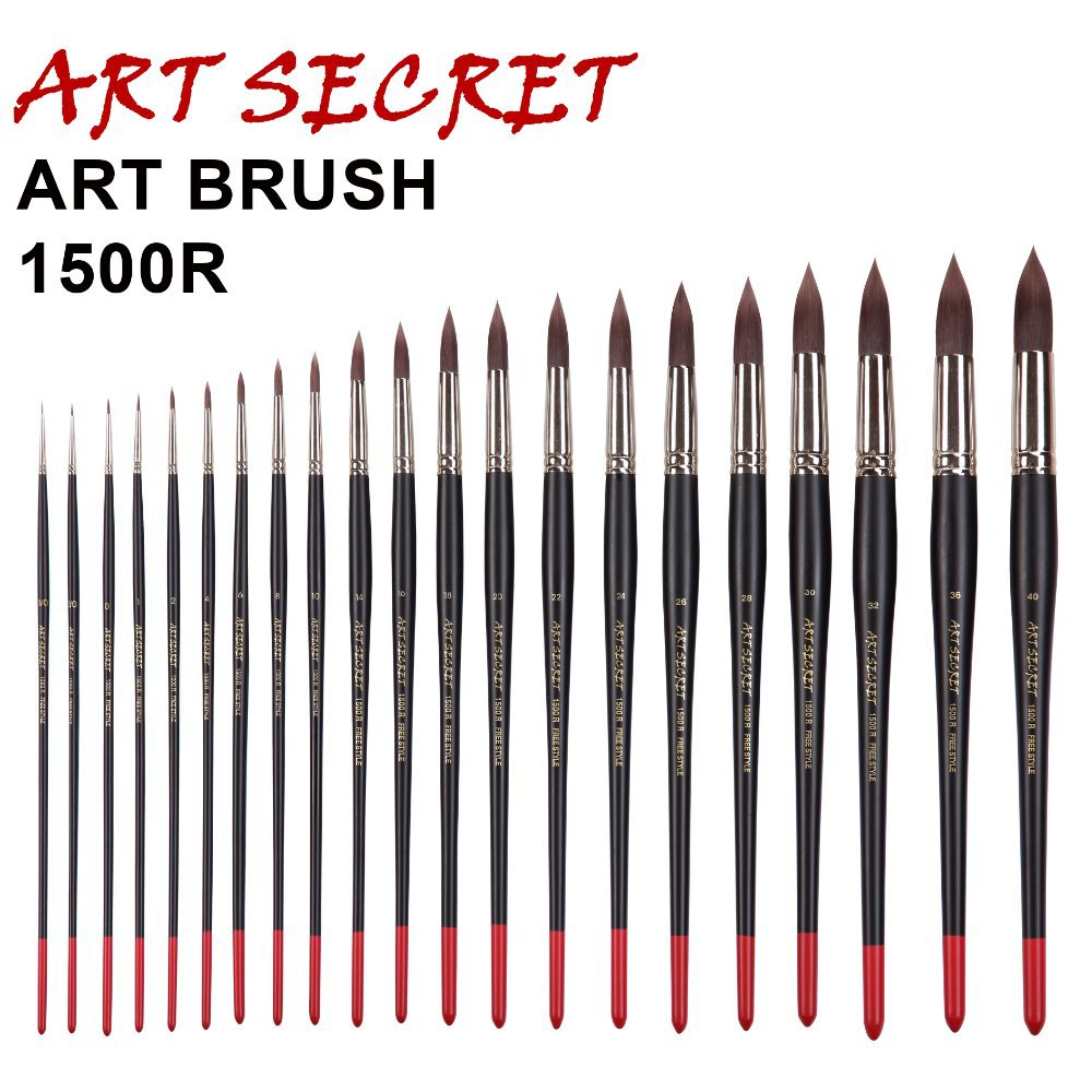 1500R High Quality Korea Importing Synthetic Hair Brass Ferrule Wooden Handle Acrylic Watercolor Art Supplies Art Brush