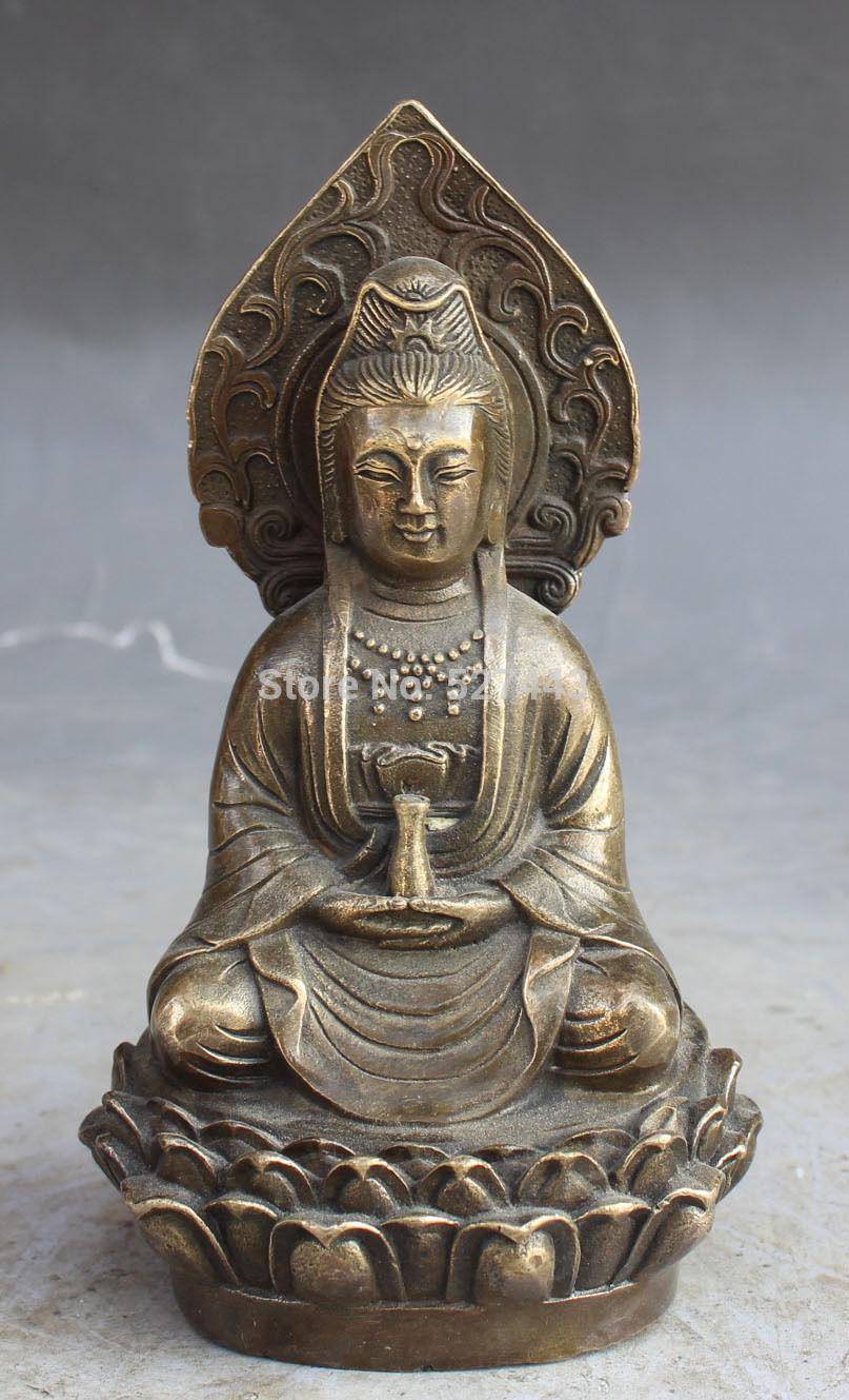 Free Shipping Wholesale 15CM Chinese Tibet Buddhism Bronze Carving Kwan-yin GuanYin Buddha Statue
