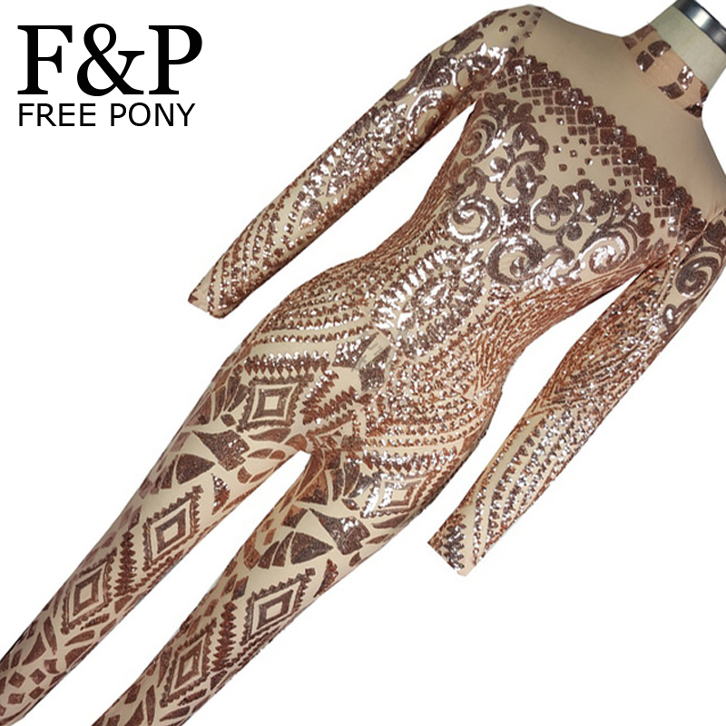 2017 Rompers Womens Jumpsuit Romper Sexy Gold Geometric Tattoo Sequin Jumpsuit Women Long Sleeve Sequined Women