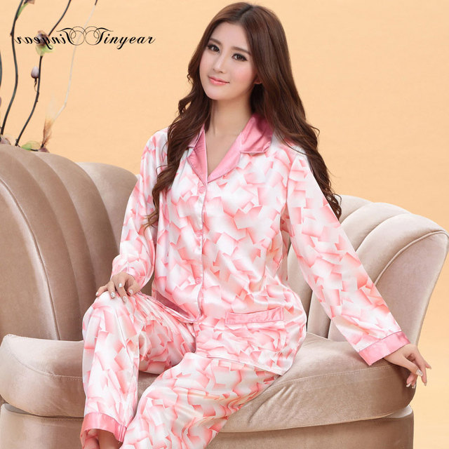 c517c4d76 In stock women night suit sleepwear pajama set full sleeve v neck couples  pajamas set breathable silk nightwear set