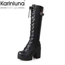 KarinLuna Britsish Sexy Rodilla Botas Altas de Las Mujeres Atan Para Arriba la Hebilla Gruesa Plataforma Zapatos de Invierno Con Botas de Piel de Nieve