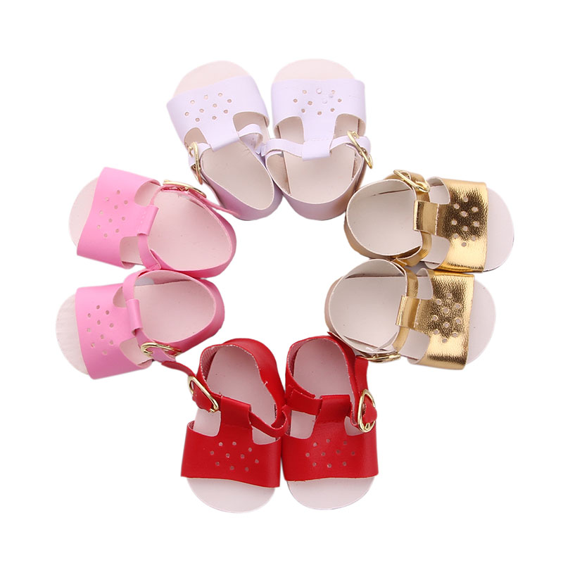Doll Sandals Summer 4 Colors Shoes Sandals For  18 Inch American Doll & 43 Cm Born Doll For Our Generation Baby Girl`s Toy