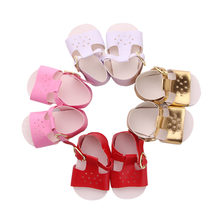 Doll Sandals Summer 4 Colors Shoes Sandals For 18 Inch American Doll & 43 Cm Born Doll For Our Generation Baby Girl`s Toy(China)
