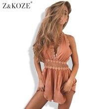 Z & KOZE Женщины выдалбливают кружева холтер V шеи комбинезон ползунки шифон спинки пляжные шорты комбинезоны уличная комбинезон купальник