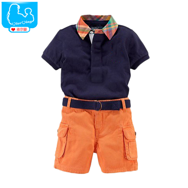 2016 New Kids Clothing Set Baby Boy Cotton T shirt + Shorts Children Polo Set For Summer Boy Casual Clothes Fits 3 colors 2-7T