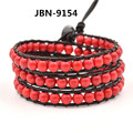 2016 new arrival fashion jewelry Hand-woven natural red turquoise stone wrapped bracelet men and women lady unisex gift JBN-9154