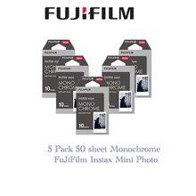 Fujifilm Instax Mini película monocromática para Mini 8, 7s, 7, 10, 20, 30, 50s, 50i, 90, 25 dw, compartir SP 1, papel instantáneo, 5 paquetes
