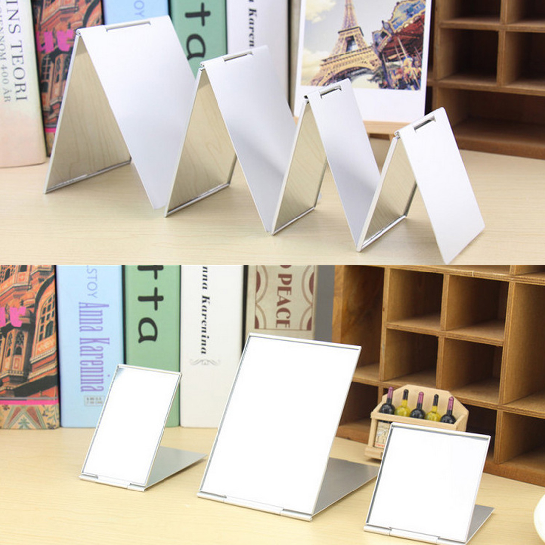 Silver Ultra-thin Foldable Makeup Mirror 1PC Rectangle Aluminium Alloy Cover Unbreakable Pocket Cosmetic Mirror 4 Sizes
