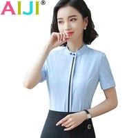2018 Spring Summer Plus Size 4xl Women White Blue Shirt Female Short Sleeve Shirt Fashion Ol