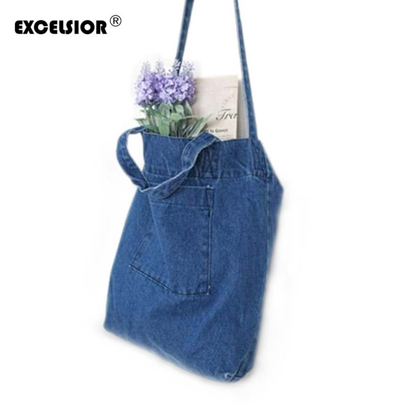 EXCELSIOR 2018 Hot Sale Women Denim Shopping Bag Casual Blue Fabric Plain Jean Shoulder Bag with Front Pocket G0560 цена 2017