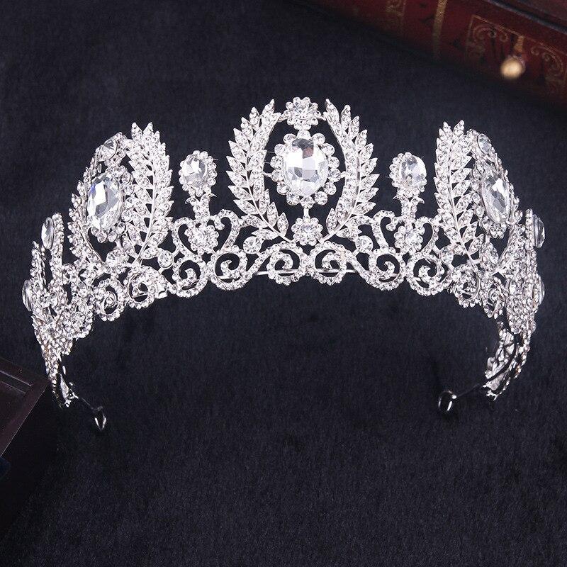 hot sell new fashion white crystal crown Bride Tiara wedding hair jewelry pearl big hoop Hair accessories Beauty Crown
