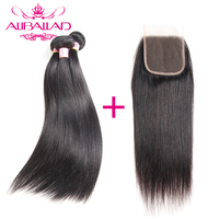 Aliballad Straight Brazilian Hair Weave 3 Bundles With Closure Free Part 4x4 Swiss Lace Non Remy