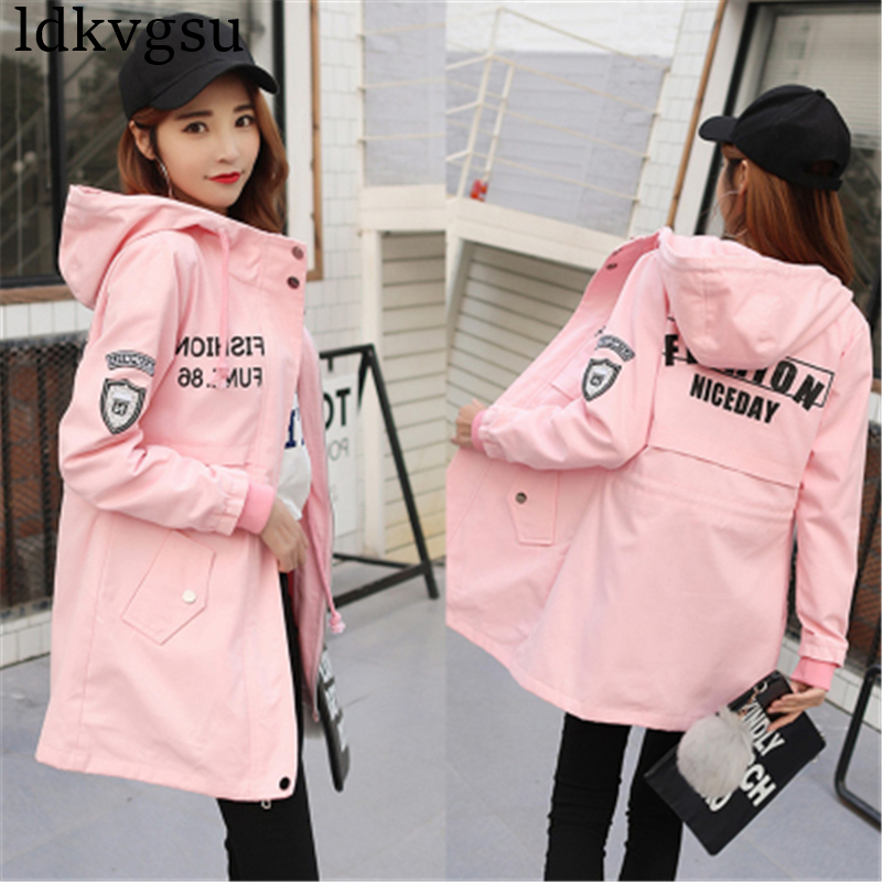 2018 New Spring Autumn   Trench   Coats Women's Outerwear Girls Korean Harajuku BF Letter Long Windbreaker Coats Female A477