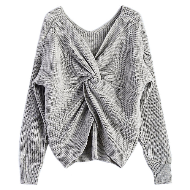 70fed204fdb1f Pettigirl Women Knitting Sweater V-Neck Twisted Back Sweater Women Jumpers  Pullovers Long Sleeve Knitted Sweaters Pull Femme