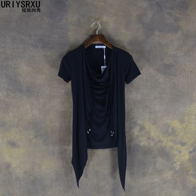 Non Mainstream Personality Faux Two Piece Male Heap Turtleneck Slim Short Sleeve T Shirt Trend of Fashion T Shirts Casual
