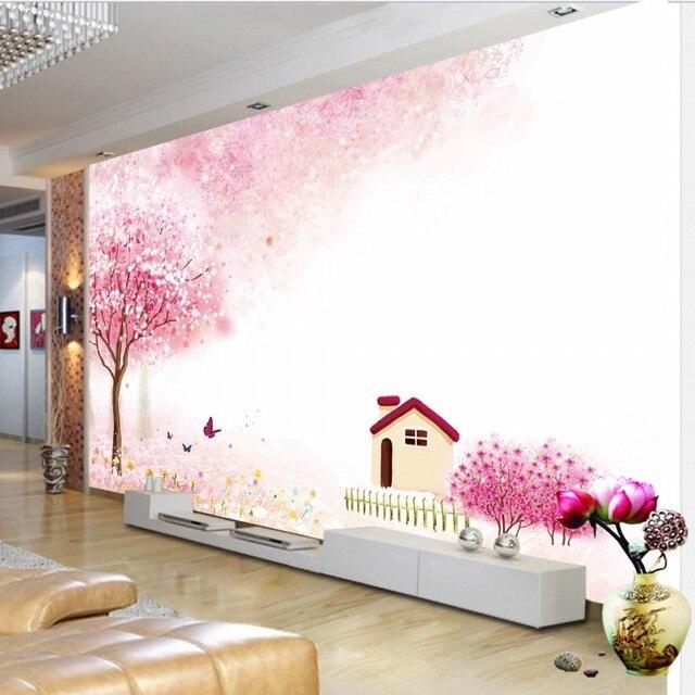 Foto behang Moderne Romantische Roze Bomen Bloemen Huis Achtergrond ...