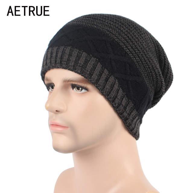 ba0fe113b3a AETRUE Winter Beanie Knit Hat Skullies Beanies Men Caps Warm Baggy  Balaclava Mask Fashion Winter Hats