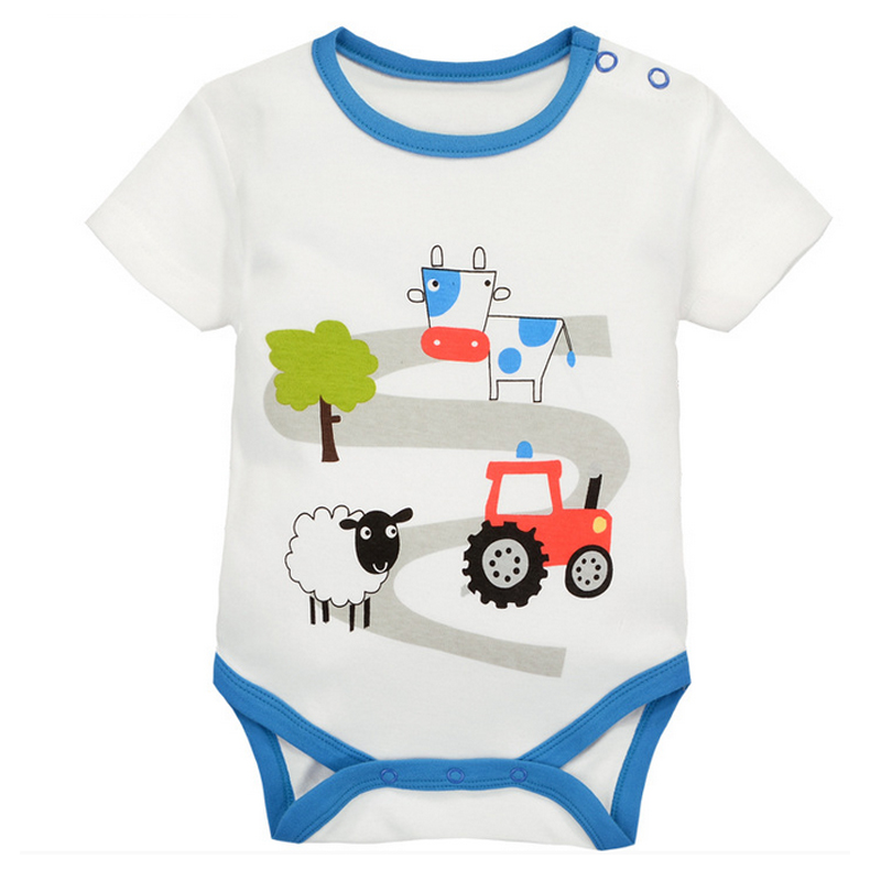 y415 free shipping Summer new men and women baby cotton short - sleeved triangle clothes newborn happy farm climbing Bodysuits