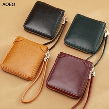 AOEO  Integrated Design Women Wallets Luxury Card Holder Coin Purse Free Wristlet High Quality Split Leather Small Wallet Female