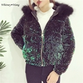 WHITNEY WANG Autumn Winter Fashion Streetwear Sequins Jacket with Hooded Women Thick Winter Coat Plus Size