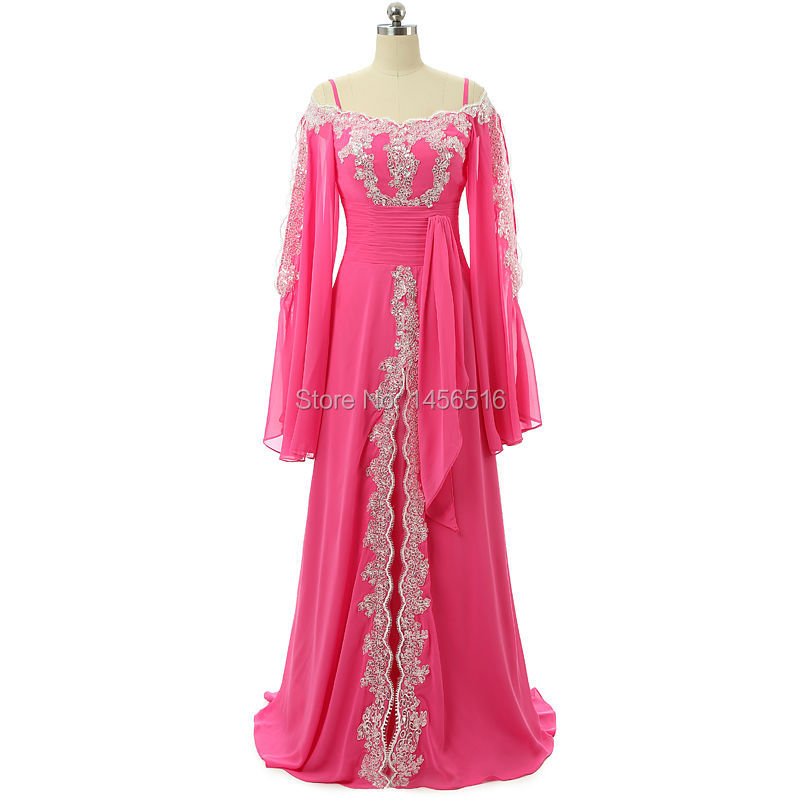 Muslim Women Long Sleeve Applique Floor Length Chiffon Italian Prom ...