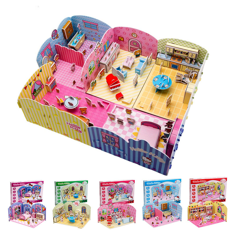 3D DIY Doll house puzzle paper EPS Cartoon 3d puzzle hello kitty bed bathroom toys education toys for children Kitchen Food toys
