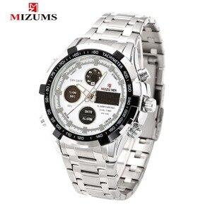 Мужские часы, топовые брендовые роскошные Цифровые кварцевые часы для мужчин, Серебристый Стальной ремешок, спортивные наручные часы, водо...