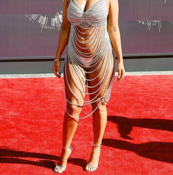 Сценическое шоу один - часть цепи платья экипировка мода металлической цепью корсетных изделий всего тела ожерелье певица спуск производительность костюм