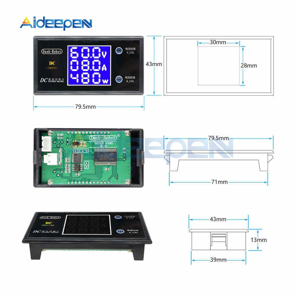 DC 0-100 в 10A ЖК-дисплей цифровой вольтметр Амперметр ваттметр Напряжение Ток измеритель мощности Детектор напряжения Тестер 12 в 24 в 36 В 1000 Вт
