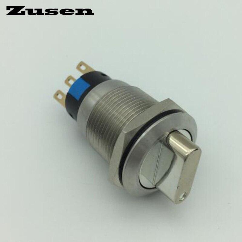 Zusen 19mm 1no1nc métal sélecteur 2 verrou de position