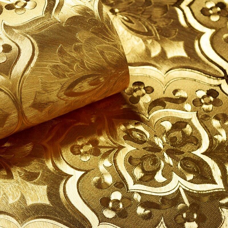 beibehang Ceilin wallpaper Hotel KTV papel de parede 3D Wallpaper for Living room glitter Gold foil