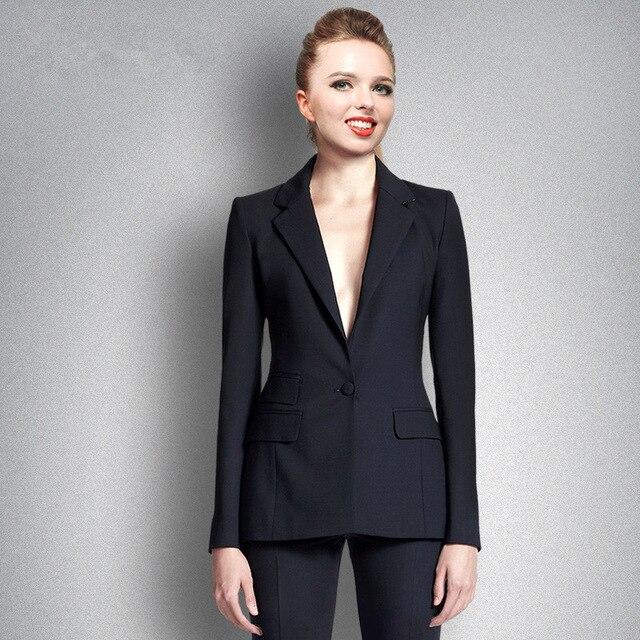 Costumes Formelle Pour Ensembles As Pièces De Uniforme Un Vêtements 2 Bureau Picture Noir Élégant Pantalon Dames Travail D'affaires Bouton Femme OqRtxxFgwX