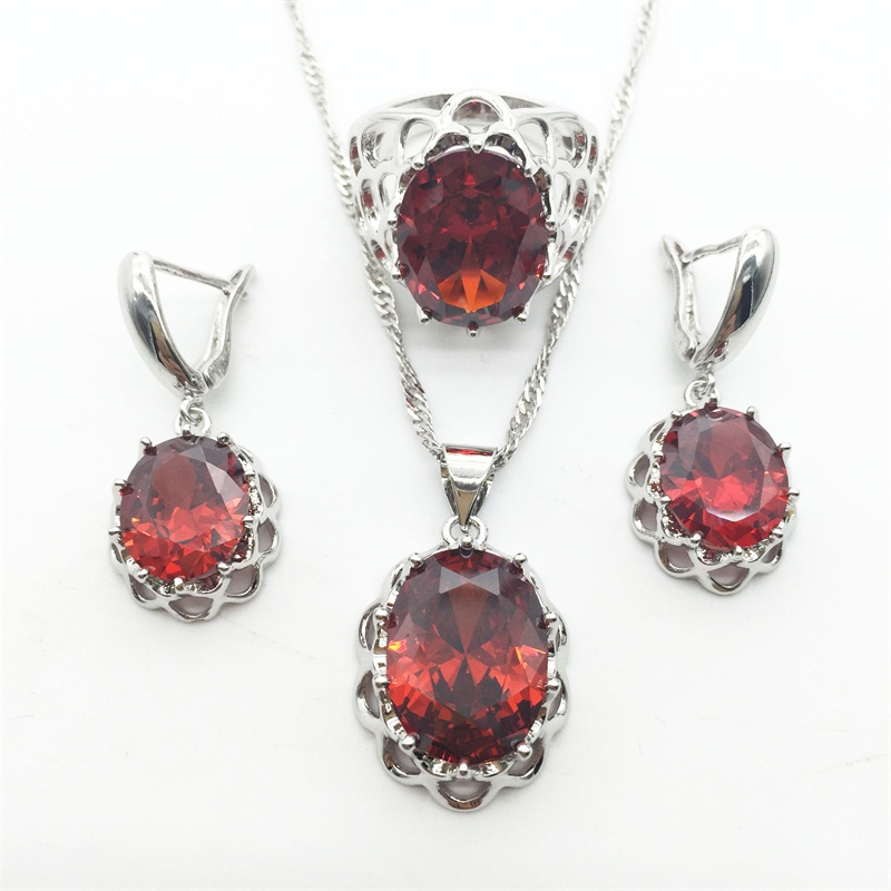 1b006fd1b5a43d Sparkling Red Garnet Jewelry Sets For Women Necklace & Pendant Earrings 925  Silver Rings Gift Jewelry-in Jewelry Sets from Jewelry & Accessories on ...