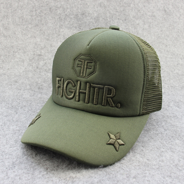 2017 New olive green mesh hat men trucker hats FIGHTR emabroidery summer  sun caps five star 251c42b4070