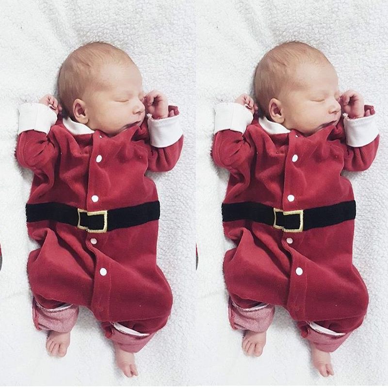 0-24M Christmas Infant Clothing Newborn Baby Boy Girl Long Sleeve Xmas Santa Claus   Romper   Outfits cute costume for kids
