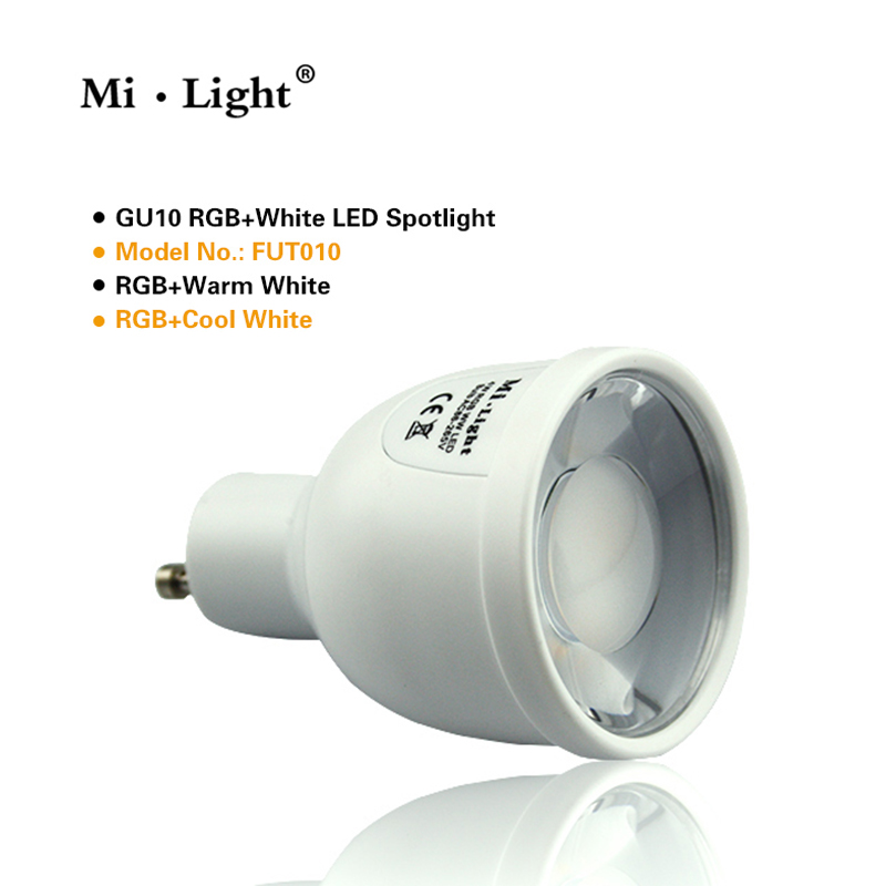 Mi.light WIFI GU10 1.6million color change dimmable 2.4G led spot lamp 85-265V 5W RGBW LED Bulb control by Iphone Ipad Android rgbw led light bulb wifi remote control smart lighting lamp color change dimmable led bulb for android ios phone