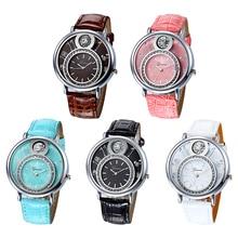 Women's Luxury Rhinestone Round Dial Faux Leather Strap Quartz Wrist Watch