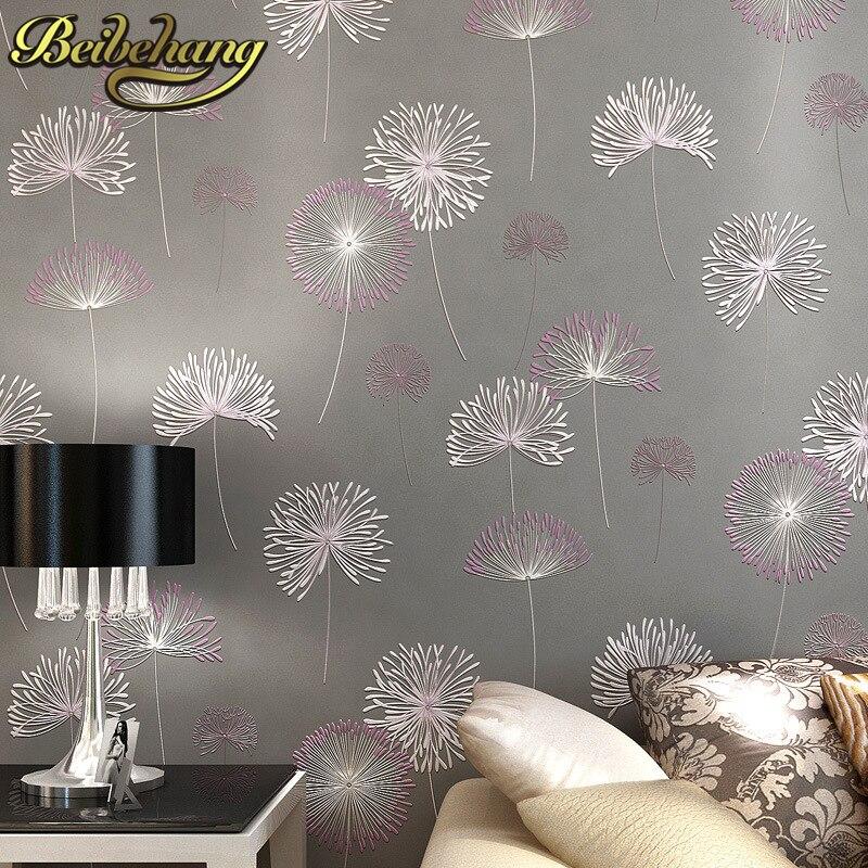 Beibehang papel parede 3D romantique pissenlit mariage décoratif papier peint Non-tissé Floral 3D papier peint Mural rouleau de papier peint
