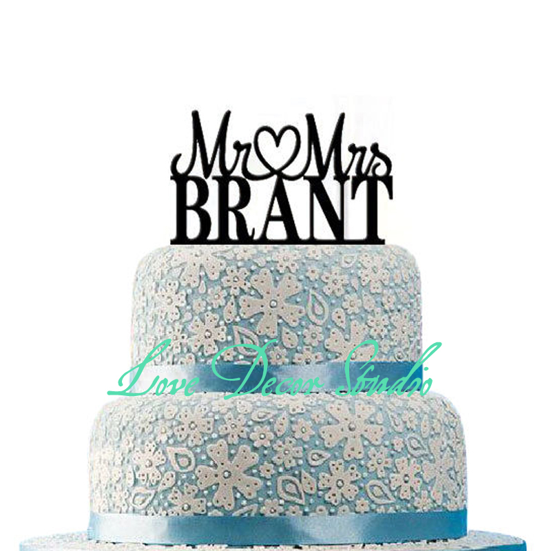 free shipping Custom Personalized Mr & Mrs Wedding Cake Topper with Your Last Name tall 6