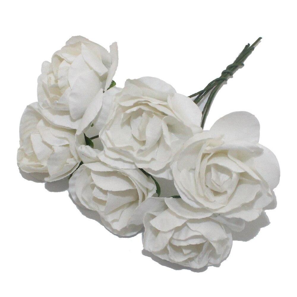 >CCINEE 6PCS 3cm Head Multicolor Artificial Paper Flowers Rose Used For <font><b>Decorative</b></font> <font><b>Gift</b></font>