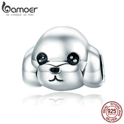 BAMOER 100% 925 Sterling Silver Adorable Animal Poodle Dog Charm Beads fit Women Charm Bracelets & Necklaces DIY Jewelry SCC837