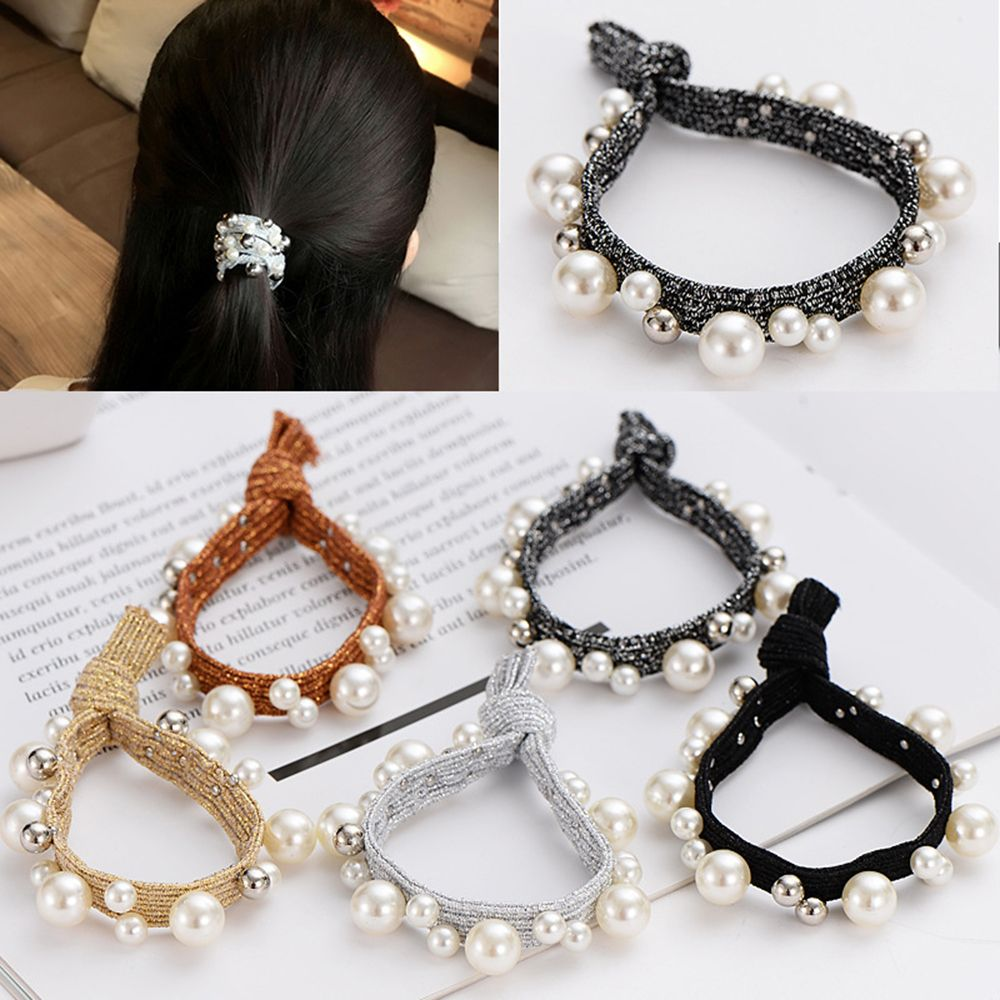 2019 New Korea Net Red Rubber Band Rope Nails Pearl Gold Silk Hair Rope Hair Bracelets Hair Accessories