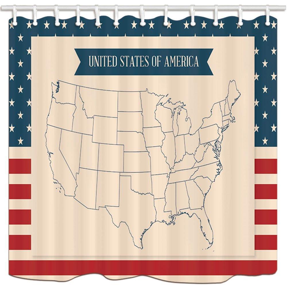 Путешествия Душ Шторы s, Соединенные Штаты Америки Map звезды и полосы, Ванная комната Д ...