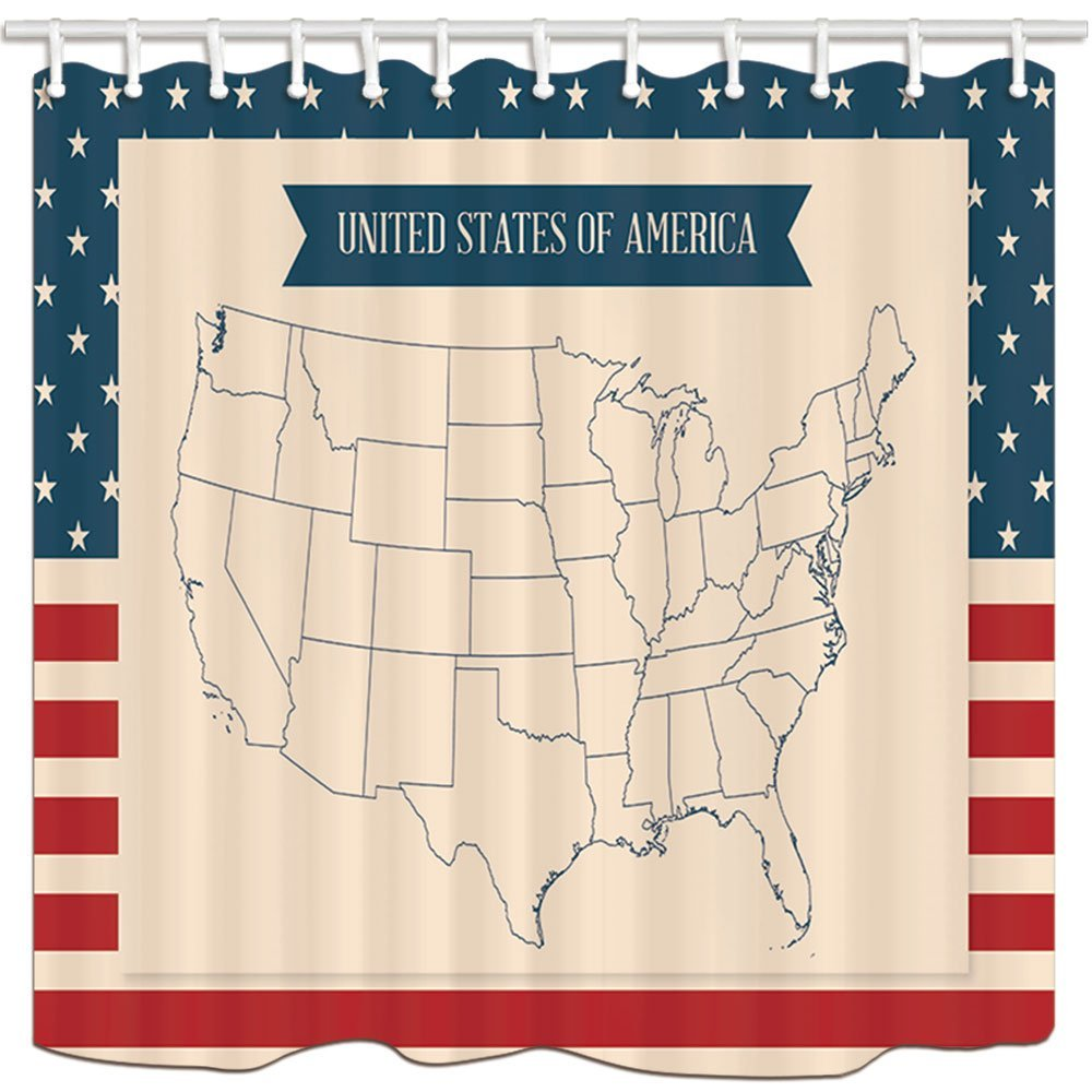 Travel Shower Curtains, United States Of America Map Stars And Stripes, Bathroom Shower Curtain Set