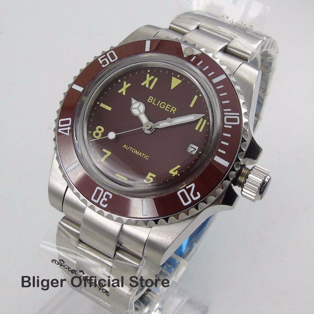 Fashion 40MM BLIGER Red Big Face Dial Mens Watch Red Bezel Date Diaplay Luminous Hand Miyota Automatic Watch Men Fashion 40MM BLIGER Red Big Face Dial Mens Watch Red Bezel Date Diaplay Luminous Hand Miyota Automatic Watch Men